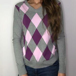 Izod Women's Purple Printed Long Sleeve Sweater